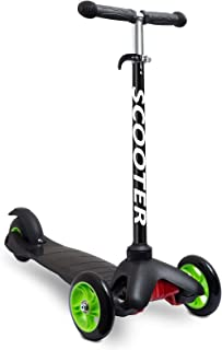 Scooters for Kids Toddler Scooter - Deluxe Aluminum 3 Wheel Glider w/Kick n Go, Lean 2 Turn Wheels, Step 4 Brake, Toddlers Training Three Wheeled Kid Ride on Toys Best for Little Boys & Girls - Black