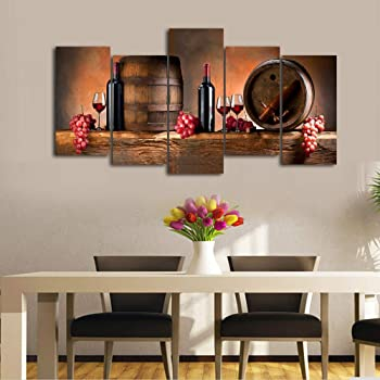 Amazon Com Cao Gen Decor Art K60527 5 Panels Wall Art Fruit Grape Red Wine Glass Painting On Canvas Stretched And Framed Canvas Prints Ready To Hang For Dining Room Art Wall Decor Artwork