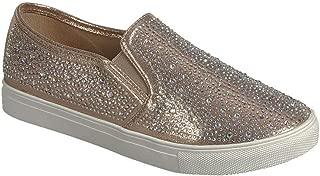 Women's Slip on Fashion Sneaker Diamonds Go Walk Sports Casual Flat Shoes