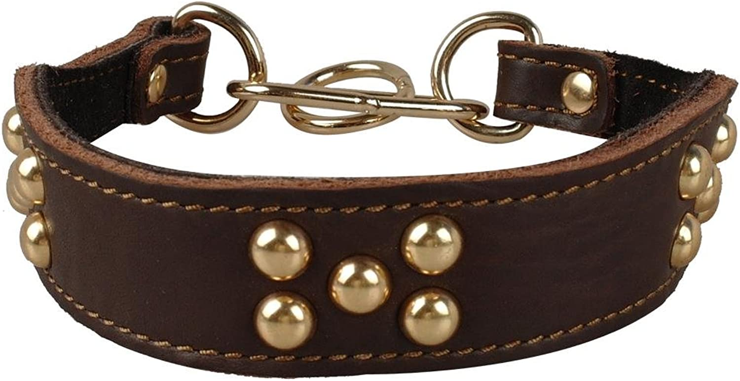 BOSUN(TM)Brown color Double Layer Genuine Leather Pet Dog Studded Collar For Greyhound