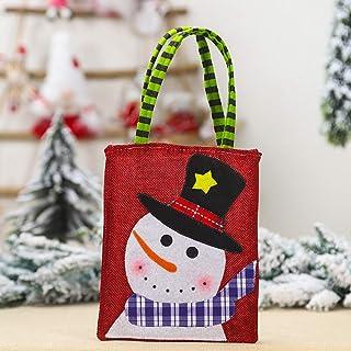 Decoración navideña Nuevo bolso de mano de arpillera bordado de parche de muñeca de dibujos animados creativos Bolsa de caramelo, bolsa de asas bordada de parche de arpillera de muñeco de nieve