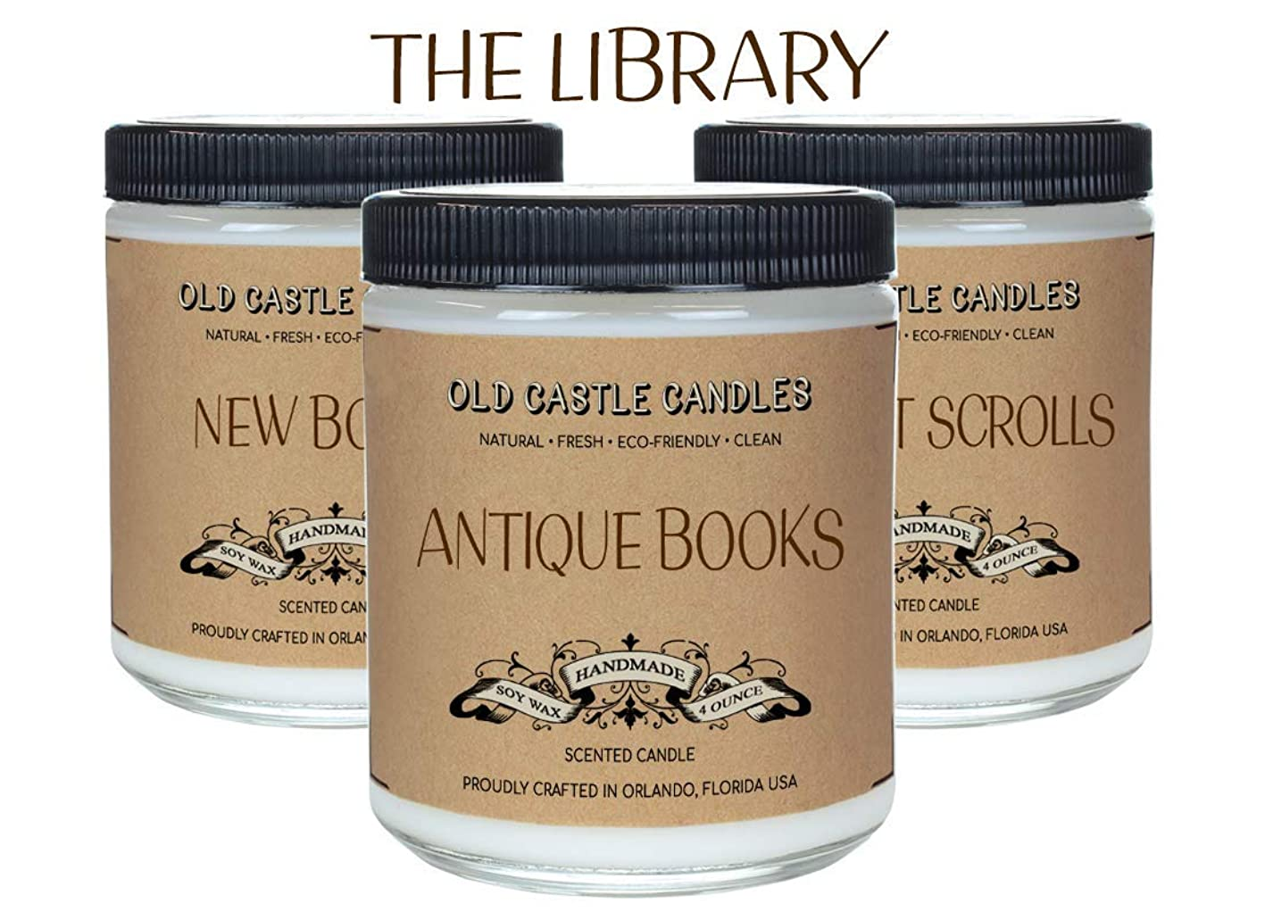 The Library Book Candles Set, Literary Lovers Gifts, Bookshelf Decor (3) 4oz Candles wbwayzujiao505