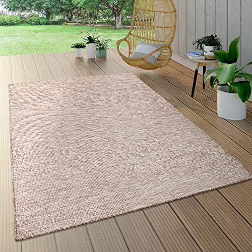 Paco Home In- & Outdoor-Teppich Für Wohnzimmer, Balkon, Terrasse, Flachgewebe In Beige, Grösse:140x200 cm
