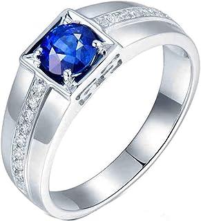 ButiRest - Anello da donna in oro bianco 750, 18 carati, 18 carati, taglio rotondo 1059 ct, zaffiro blu VVS e diamante 0,1...