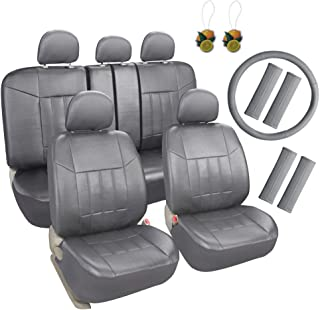 Leader Accessories Universal Front Rear Car Seat Covers Leather 17pcs Combo Pack Full Set Grey with Airbag/Steering Wheel Cover/Shoulder Pads