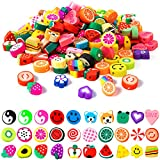 Mixed Flower Fruit Polymer Clay Beads - 200 Pcs Soft Handmade Lemon Smiley Strawberry Beads, Loose Beads Spacer Charms for Earring Jewelry Bracelet Making