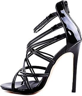 Minetom Damen Sandaletten High Heels Stiletto Reißverschluss Sexy Open Toe Hohl Kreuzgurt Sandalen Abend Party Braut Schuhe
