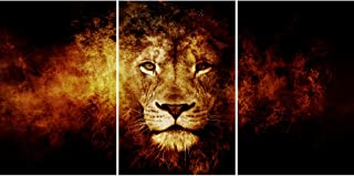 SAF Set of 3 The king of forest Lion modern art UV Textured wall painting for living room 27 Inch X 12 Inch Painting SANFC...