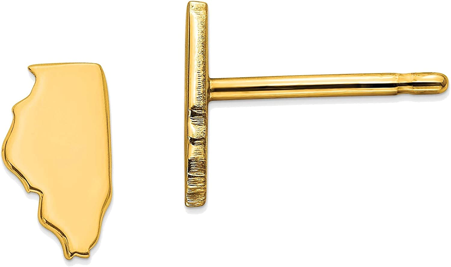 14kt Yellow Gold IL Small State Earring