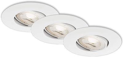 Briloner Leuchten – Luminaire LED, set de 3, lampes de plafond réglables, module LED pivotable, 5 Watt par lampe, 460 Lumen par lampe, 3.000 Kelvin, IP23, blanc, 90x24mm (DxH)