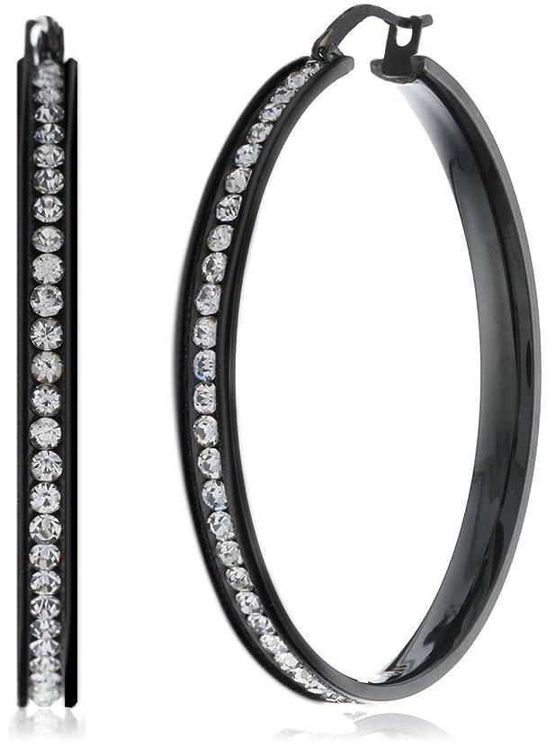 FUNRUN JEWELRY Womens Stainless Steel Cubic Zirconia Hoop Earrings 35-55mm