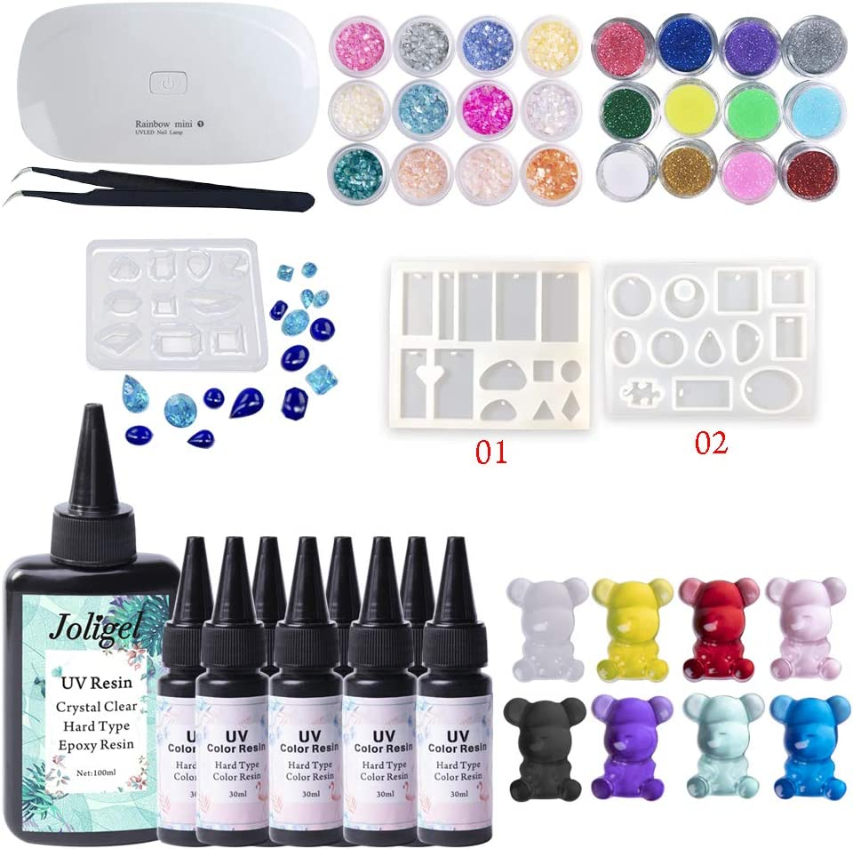 UV Epoxy Resin Kit 100ML + Manufacturer OFFicial shop Transparent Crysta Color half 8x30ML