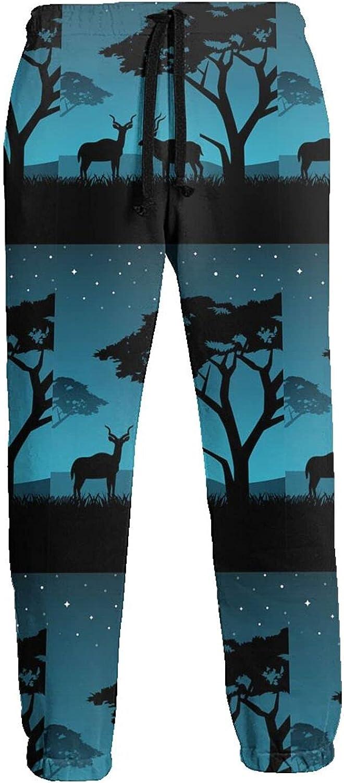 KAWAHATA Couple Kudu Men's Pants with Pockets Tapered Athletic Sweatpants 3D Casual Active Sports Pants