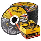 PEGATEC Cut Off Wheels 50 Pack,Quality Thin 4 1/2x0.04x7/8 inch Cutting Disc,Metal & Stainless Steel Aggressive Cutting Wheel for Angle Grinder,General Purpose Metal Cutting…