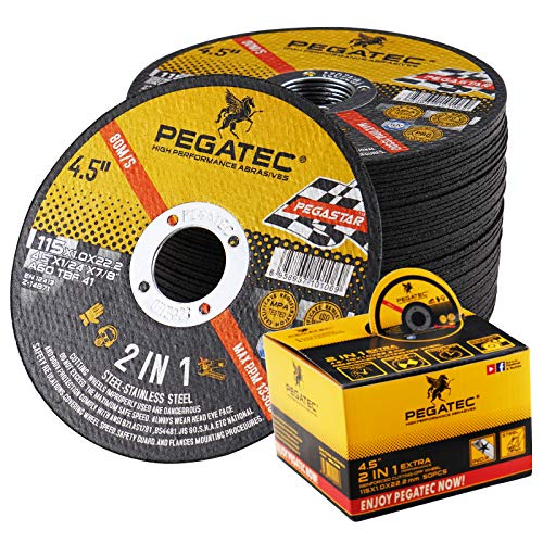 PEGATEC Cut Off Wheels 50 Pack, Quality Thin 4 1/2 x0.04x7/8 inch Cutting Disc, Metal & Stainless Steel Aggressive Cutting Wheel for Angle Grinder, General Purpose Metal Cutting (4.5inch)
