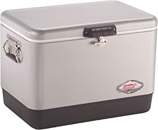 Coleman Cooler   Steel-Belted Cooler Keeps Ice Up to 4 Days   54-Quart Cooler for Camping, BBQs, Tailgating & Outdoor Activities
