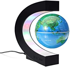 MECO 3'' Magnetic Levitation Floating Globe Funny C Shape World Map with Colored LED Light Anti Gravity Globe for Children Christmas Gift Home Office Desk Decoration
