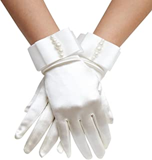 Aivtalk Buckingham Palace Wrist Length Stretch Gloves with Pearls White One Size