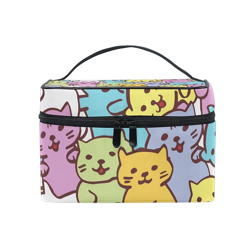 アーティファクト無意味無線ALAZA 化粧ポーチ ねこ柄 猫柄 化粧 メイクボックス 収納用品 マルチ 大きめ かわいい