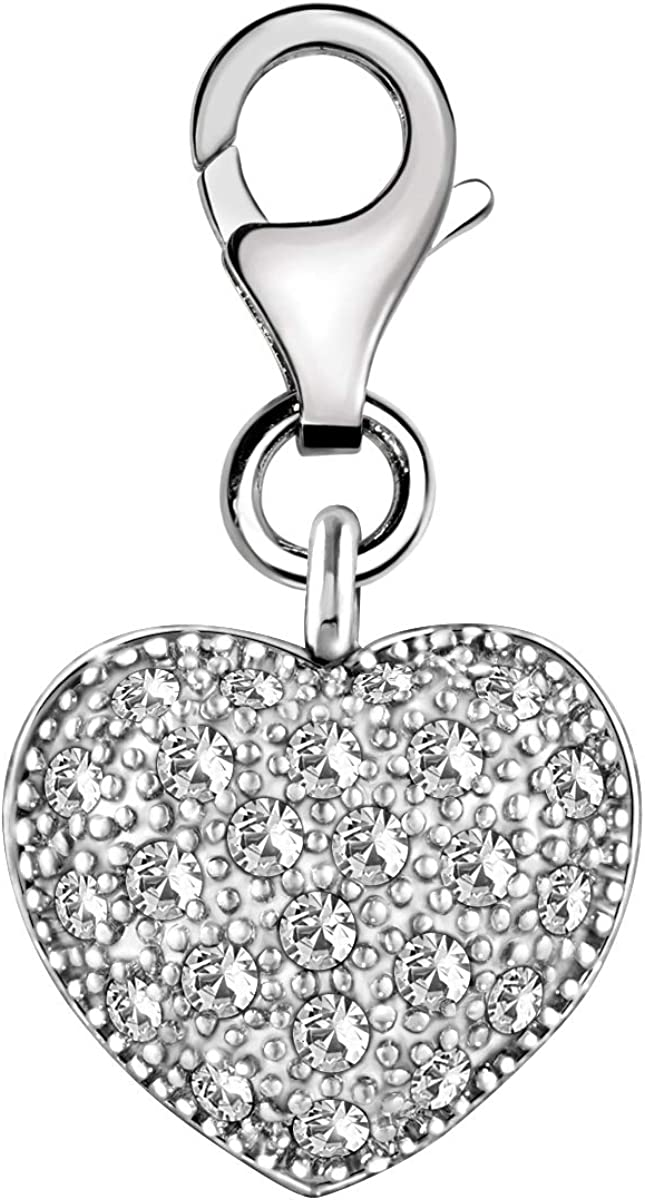 Quiges 925 Sterling Silver Hearts with Crown Clip On Lobster Clasp Charm Pendant