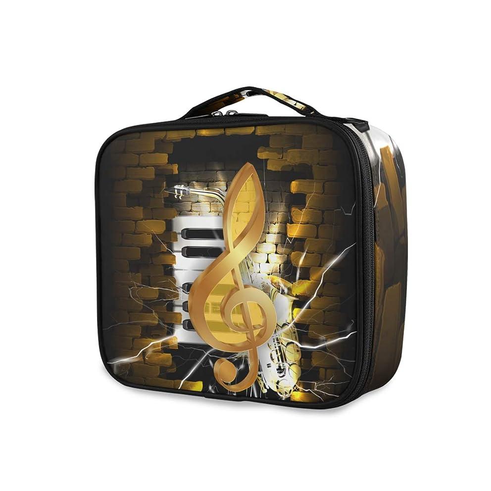 抑止する方法論傀儡KAPANOU プロ用 メイクボックス レンガの壁とサックスのピアノのキーの背景に金色のト音記号 多機能 高品質 美容師 マニキュリスト 刺青師 専用 化粧ボックス メイクアップアーティスト 収納ケース メイクブラシ 化粧道具 大容量