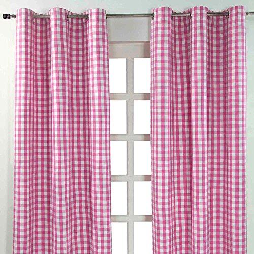 Homescapes Ösenvorhang blickdicht Karo Dekoschal 2er Set Breite Vorhang Paar 100% Baumwolle (117 x 137 cm, Pink)