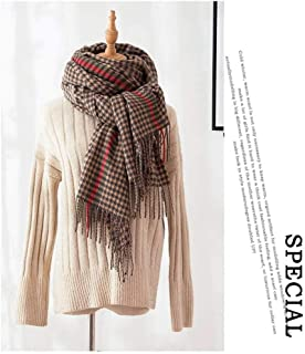 Houndstooth Scarf Autumn & Winter Men & Women All Match Soft Thick Plaid Cashmere Fringed Shawl, houseHold, Khaki, 80 190cm