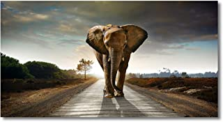 Canvas Wall Art Elephant Animal Picture Print Paintings Modern Giclee Artwork for Wall Decor and Home Decor Stretched and Framed Ready to Hang,2cm Thick Frame, Waterproof Artwork.