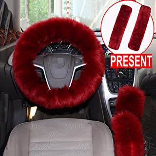 Alusbell 1 Set 5 Pcs Car Steering Wheel Cover & Handbrake Cover & Gear Shift Cover Set & Seat Belt Shoulder Pads Faux Wool Warm Winter (Wine Red)