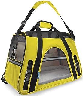 MAOSHE Pet Bag Out Carrying Bag Dog Cage Portable Pet Travel Bag Nylon Mesh Lamb Cashmere Polyester Pet Suitcase (Color : ...