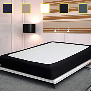 Twin Six Fashion Box Spring Cover with Plush Premium Elastic, Wrap Around Bed Skirt Frame Cover Mattress Protector Encasement, Black Queen Size