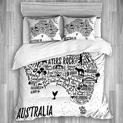 PANILUR Bedding Juego de Funda Edredón,Cartel de tipografía Australia Mapa guía de Viaje,Funda de Nórdico Fundas de Almohada 200x200cm +2(50x80cm)