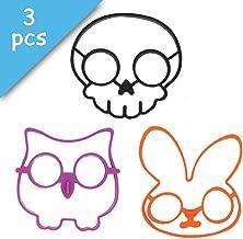Set of 3 Funny Silicone Fried Egg Ring Mold Skull Owl Rabbit Shape Egg Shaper for Cooking