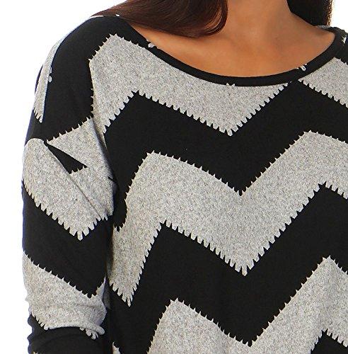 Only onlELCOS 4/5 AOP Top JRS Noos Camisa Manga Larga, Multicolor (Light Grey Melange AOP:w. Black Zigzag), 38 (Talla del Fabricante: Medium) para Mujer