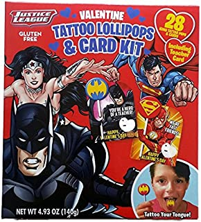 Justice League Valentine Exchange Cards with Tattoo Lollipops 28ct - Including Teacher Card