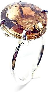 Prezioso anello con prezioso e brillante Topazio Champanya naturale che misura 14,1 mm x 7,5 mm di 9,43 carati. Anello.