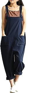 Women's Jumpsuits Overalls Plus Size Wide Leg Loose Cotton Linen Baggy Bib Pants