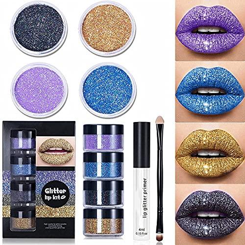 Glitter Lip Kit Stay Golden,Glitter Metallic Lipstick,Glitter Lips Glitter Lip Kit Waterproof & Smudge,Long Lasting Glitter Lipstick with Lip Primer and Brush (Cool Colors)