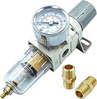 Tailonz Pneumatic 1/4 Inch NPT Air Filter Pressure Regulator, Water-Trap Air Tool Compressor Filter with Gauge