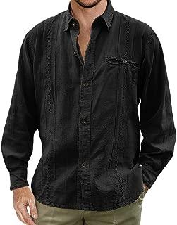 Mens Guayabera Shirt Cuban Linen Long Sleeve Button Down Shirts Collared Tees Beach Plain Tops