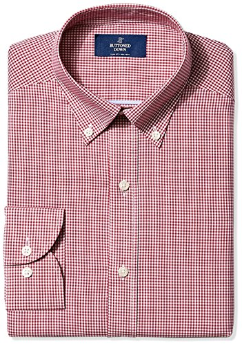 BUTTONED DOWN Men's Slim Fit Button-Collar Non-Iron Dress Shirt, Burgundy Gingham, 16' Neck 35' Sleeve