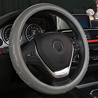 XiXiHao Bling Steeing Wheel Cover for Women Cute Diamond Car Steering Wheel Cover Universal 15inch with Crystal Diamond (Gray)