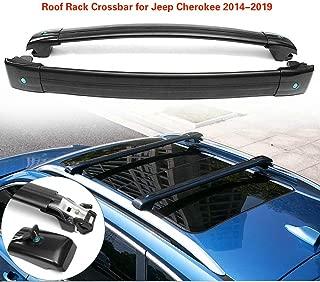 MotorFansClub Lockable Luggage Rack Carrier Top Roof Rack Cross Bar for Jeep Cherokee 2014-2019 (Black)