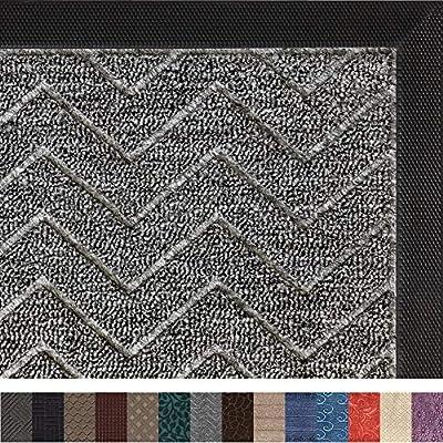 Gorilla Grip Original Durable Rubber Door Mat, 29x17, Heavy Duty Doormat, Indoor Outdoor, Waterproof, Easy Clean, Low-Profile Mats for Entry, Garage, Patio, High Traffic Areas, Charcoal Chevron