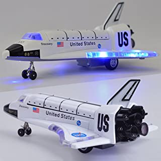 ETbotu 8 Inch Alloy Force Control Space Shuttle Model with Light & Sound Toy Plane Gift for Children