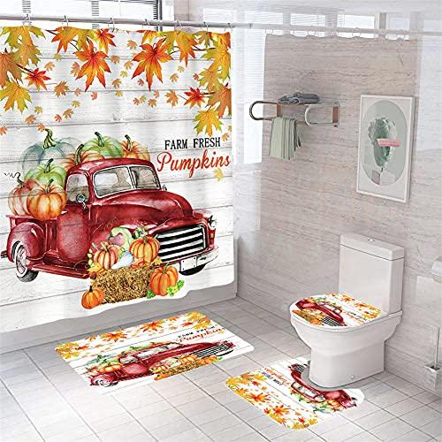 Herbst Kürbis Auto Duschvorhang Set Herbst Badezimmer Vorhang mit Rutschfest Teppich, WC Deckelbezug & Badematte, Rose Duschvorhang mit 12 Haken, Wasserdicht Regentropfen Duschvorhang für Badezimmer