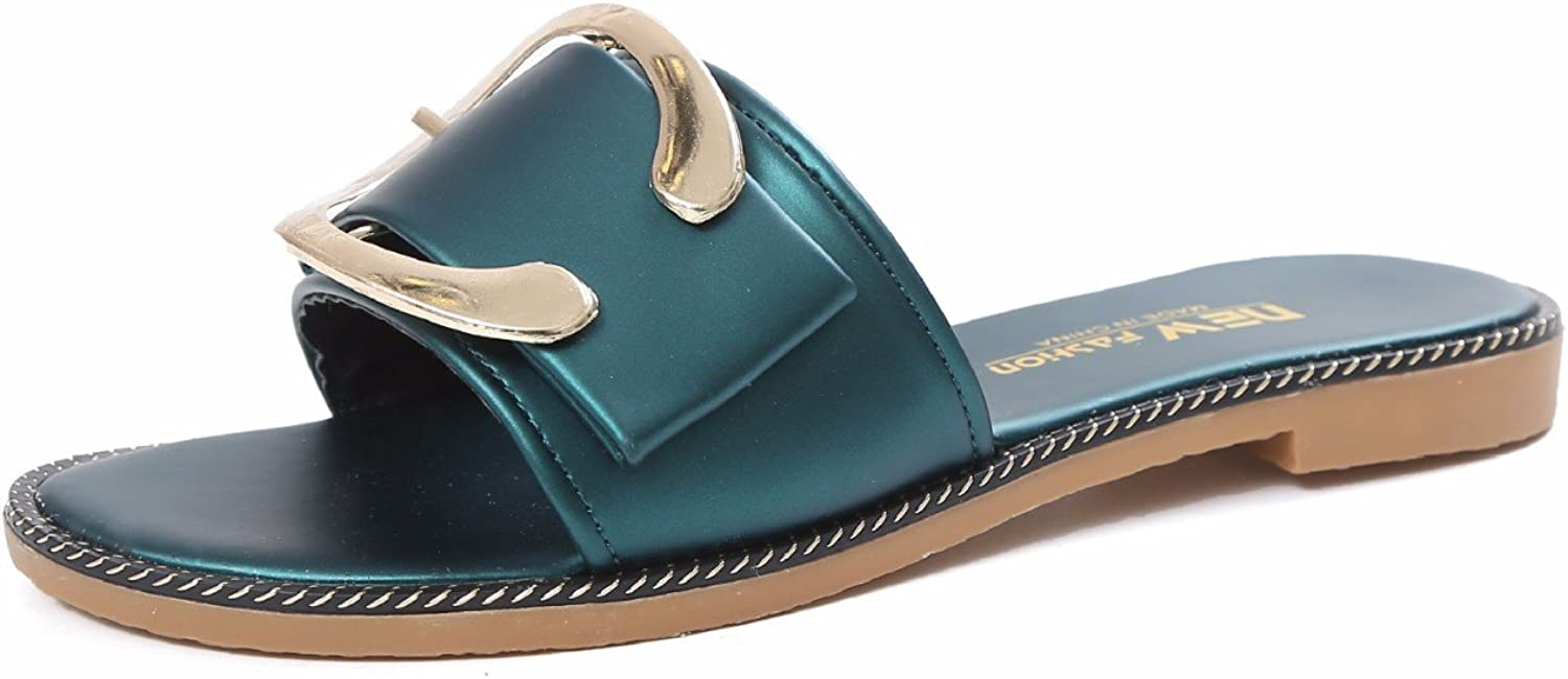 KAI-Leather belt buckle buckle female non slip wear casual metal button sandals,green,Thirty-nine