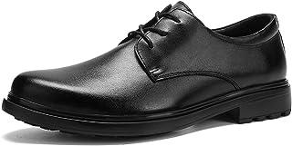 DADIJIER Oxfords Vestido Zapatos para Hombres Llano Redondo Toe Stitching 3-Eye Lace Up Block Heel Cuero Genuino Suela de ...