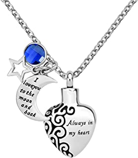 LoEnMe Jewelry Urn Necklace for Ash Cremation Pendant Star I Love You to The Moon and Back Always in My Heart