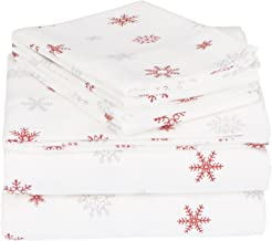 Pinzon Cotton Flannel Bed Sheet Set - King, Falling Snowflake Merlot